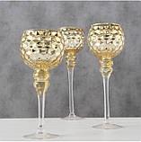 Набор 3-х подсвечников в виде бокала золотое стекло h30-40см, фото 3