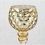Набор 3-х подсвечников в виде бокала золотое стекло h30-40см, фото 2