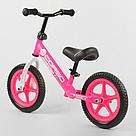 """Беговел CORSO Велобег детский розовый, стальная рама, колесо 12"""" велосипед без педалей , фото 3"""