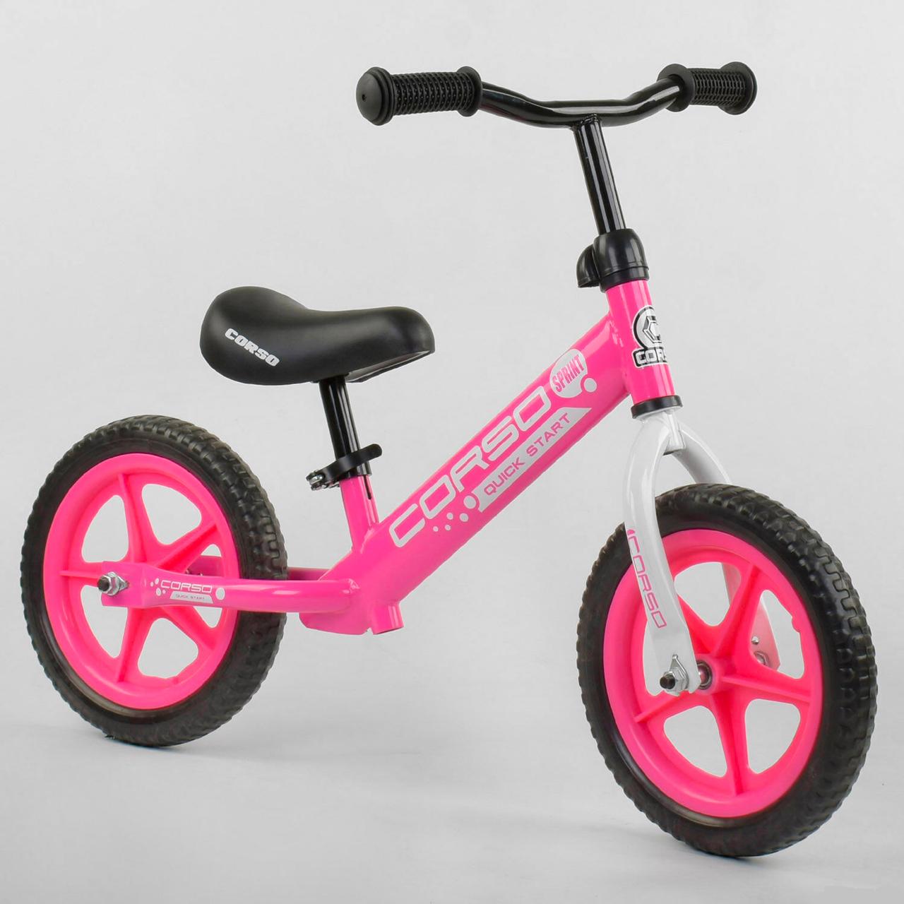 """Беговел CORSO Велобег детский розовый, стальная рама, колесо 12"""" велосипед без педалей"""