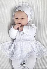 Комплект на выписку для новорожденных девочек р.50-56 молочный, белый, фото 2