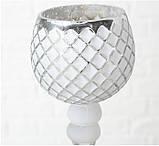 Набор 3-х подсвечников в виде бокала белое стекло h30-40см, фото 6