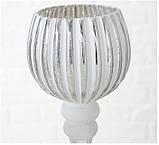 Набор 3-х подсвечников в виде бокала белое стекло h30-40см, фото 4
