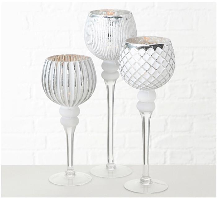 Набор 3-х подсвечников в виде бокала белое стекло h30-40см