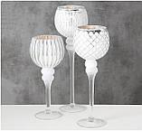 Набор 3-х подсвечников в виде бокала белое стекло h30-40см, фото 2