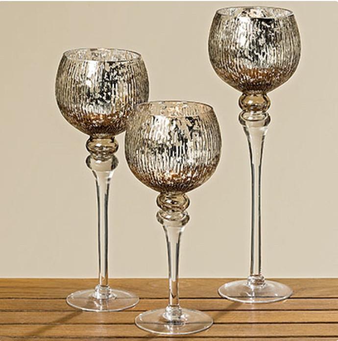 Набор 3-х подсвечников в виде бокала серебряное стекло h30-40см