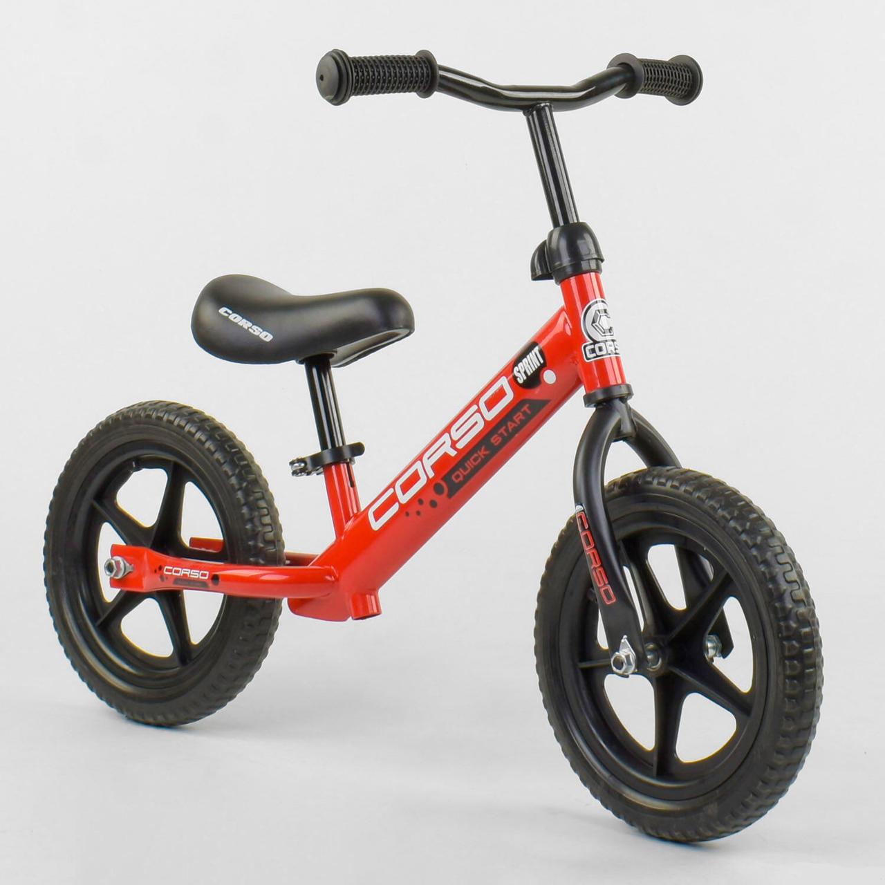 """Беговел CORSO Велобег детский красный, стальная рама, колесо 12"""" велосипед без педалей"""