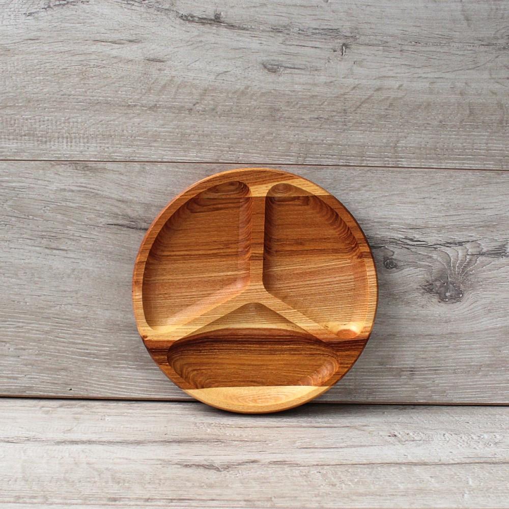 Менажница на 3 сегмента Мерседес 19 см, деревянная менажница