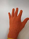 Перчатки х/б вязаные с ПВХ точкой оранжевые, фото 2