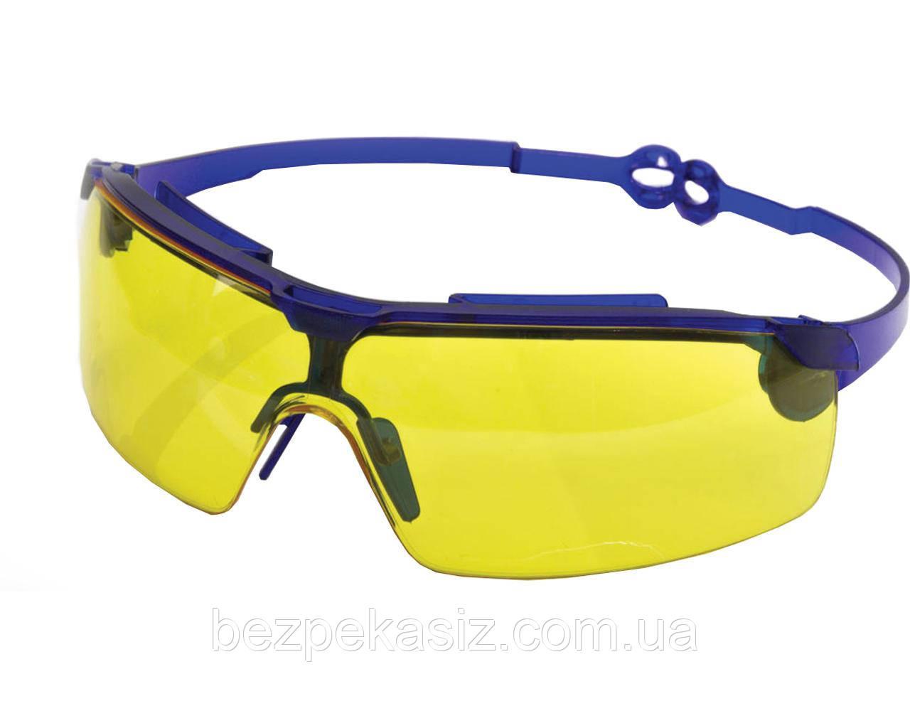 Очки защитные Драйвер жёлтые (поворотные удлинённые дужки, линза ПК, не потеющая, антицарапина)