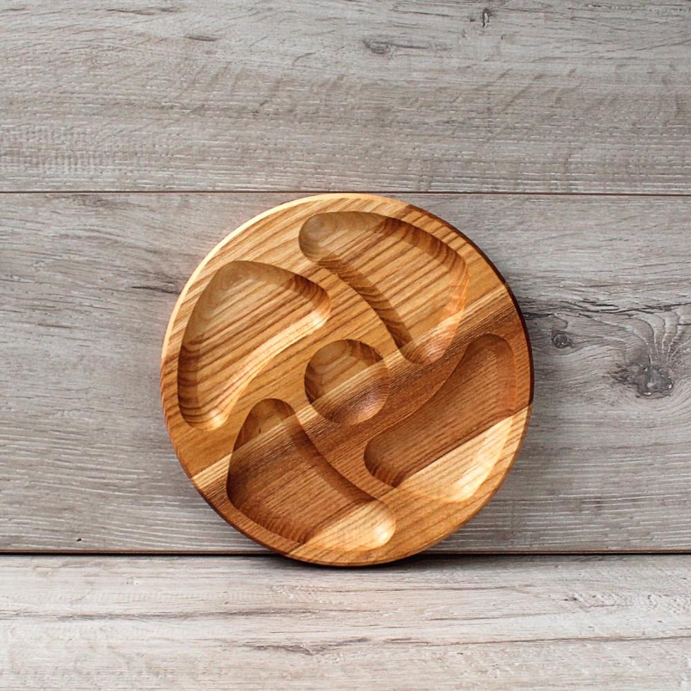 Менажница на 5 сегментов из ясеня Ураган 19 см, деревянная менажница