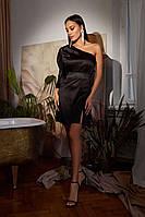 Атласное платье короткое на одно плечо черного цвета, 5 цветов, хс,с,м,л