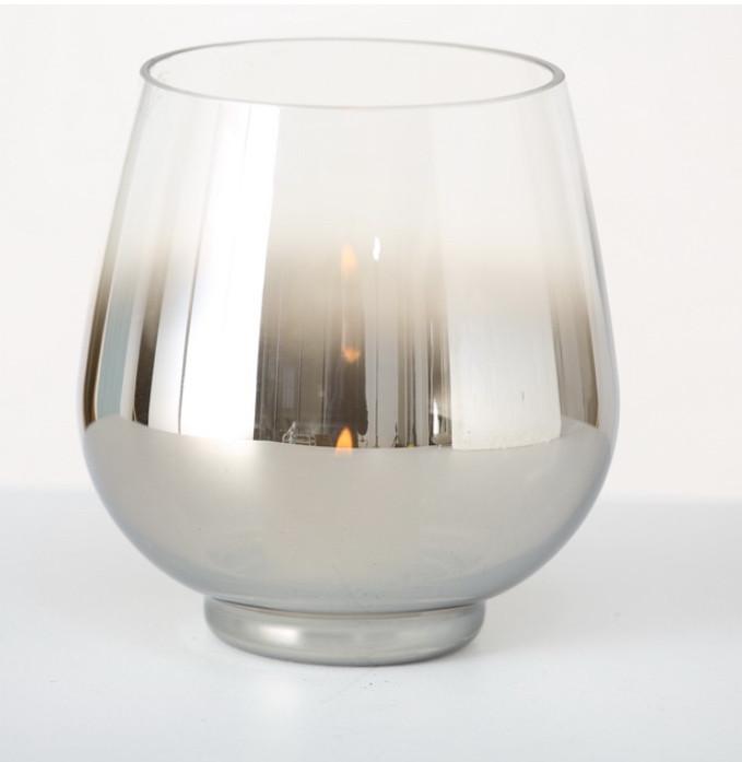 Подсвечник Грация серебряное лакированное стекло h15 d13см