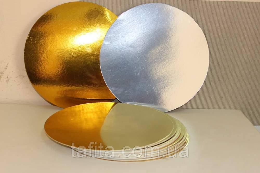 Подложка для торта золото/серебро 19 см.