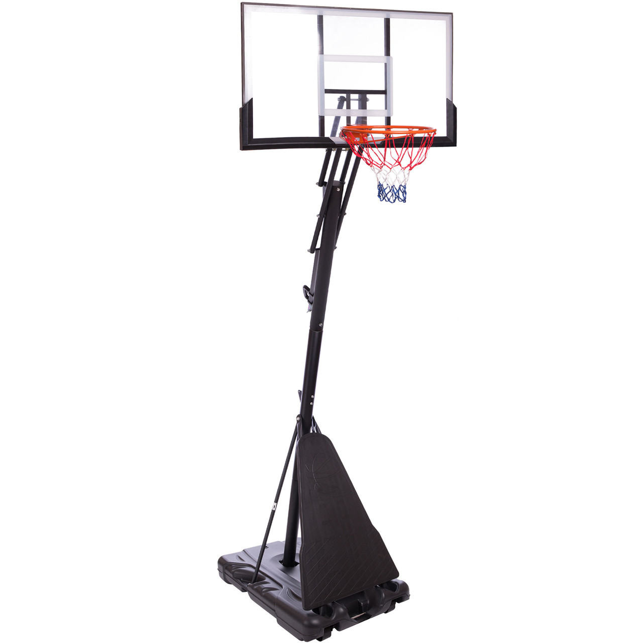 Стійка баскетбольна зі щитом (мобільна) DELUX S024 (щит-PC р-р 127х80см, кільце-сталь (16мм) d-45см,