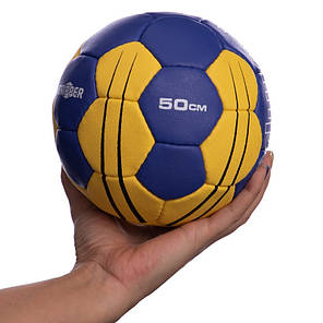 Мяч для гандбола KEMPA HB-5410-0 (PU, р-р 0, сшит вручную, голубой-желтый), фото 2