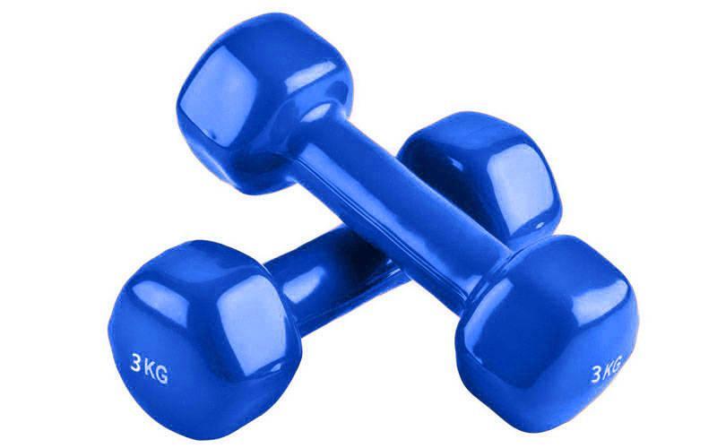 Гантели для фитнеса с неопреновым покрытием глянец, мат Zelart Радуга TA-0001-3 (1x3кг) (цена за 1шт, цвета в