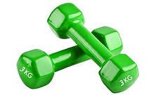 Гантели для фитнеса с неопреновым покрытием глянец, мат Zelart Радуга TA-0001-3 (1x3кг) (цена за 1шт, цвета в, фото 2