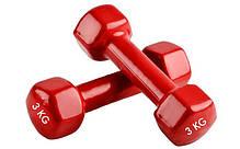 Гантели для фитнеса с неопреновым покрытием глянец, мат Zelart Радуга TA-0001-3 (1x3кг) (цена за 1шт, цвета в, фото 3