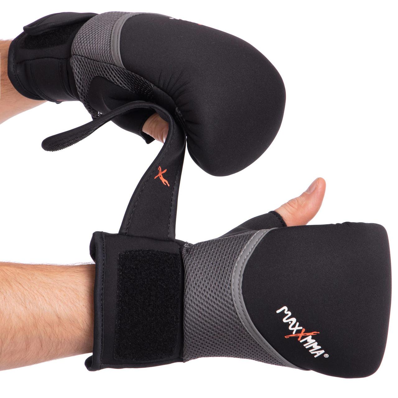 Снарядные перчатки с открытым большим пальцем неопреновые MAXXMM GH06 (р-р S-XL, цвета в ассортименте)