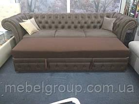 Кожаный диван Честер Люкс 3ка  (раскладной дельфин) 267х90х82, фото 3