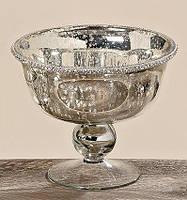 Декоративная миска Дион лакированное серебряное стекло d19 h16cm Гранд Презент 1567500