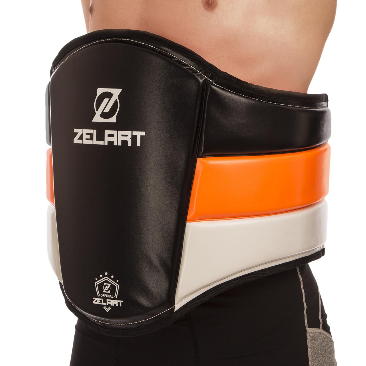 Пояс тренера шкіряний ZELART BO-1975 (наповнювач-EVA,пінополіуретан, безрозмірний, крепл. на липучках,чорний)