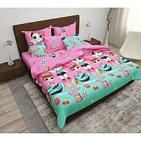 Комплект детского постельного полуторного белья Кукла Лол, Ранфорс , розово-бирюзовый