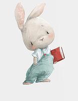 """Виниловые интерьерные наклейки на стену, окна, двери """"Мальчик зайка с книгой"""" 58см*35см (лист 40*60см)"""