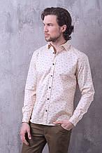 Рубашка мужская W.E. д/р бежевого цвета с принтом (размер 46,48,50,52,54)