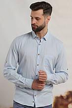 Рубашка мужская W.E. голубого цвета с отворотом рукава (размер 46,48,50,52,54)