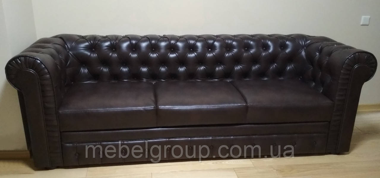 Кожаный классический диван Честер 3ка раскладной 253х87х85