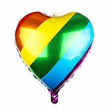 Фольгированный шар сердце радужное лайк likee 24 дюйма 60 см