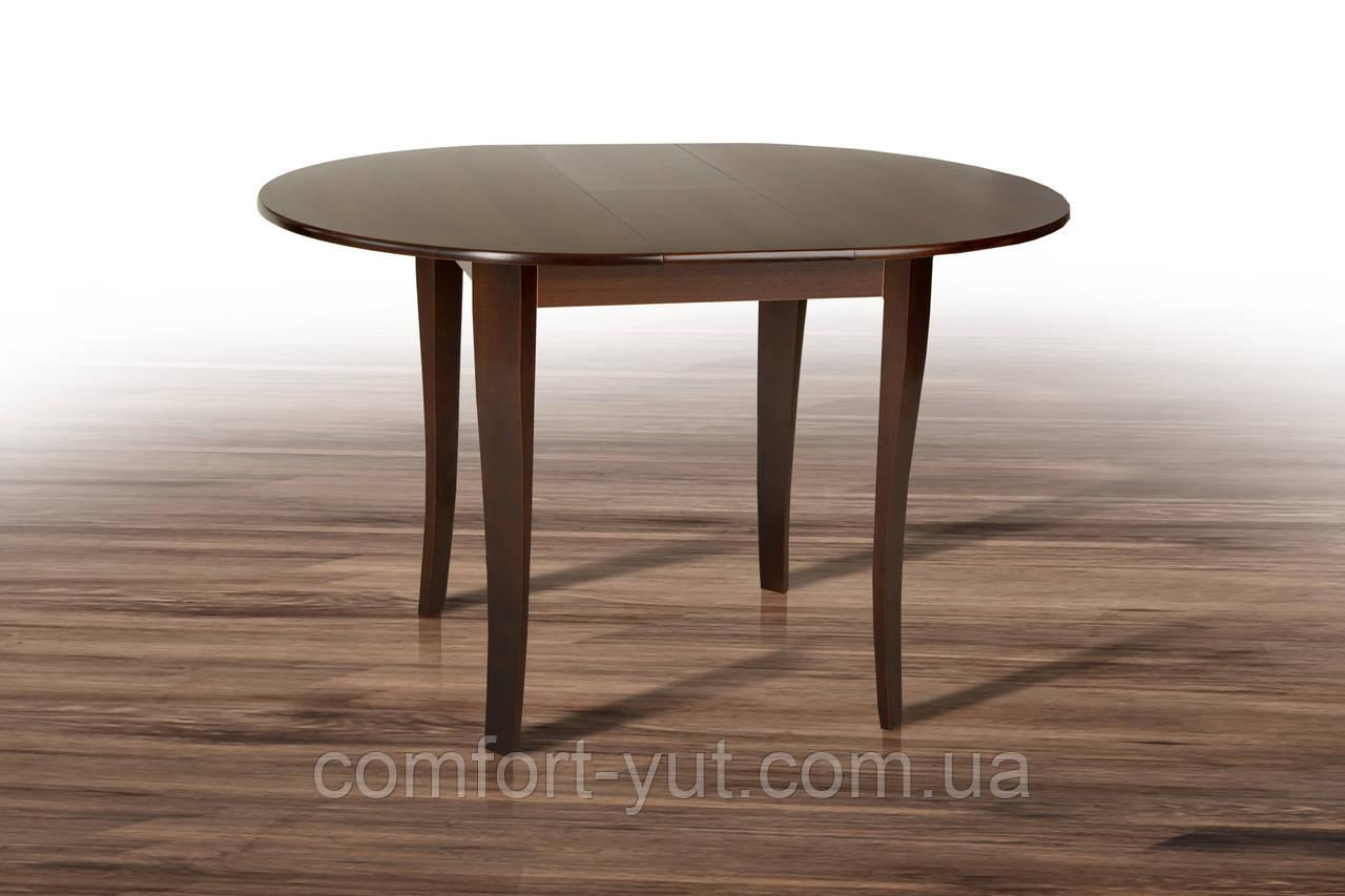 Стол Дукат орех темный 93(+25)*93 обеденный раскладной деревянный