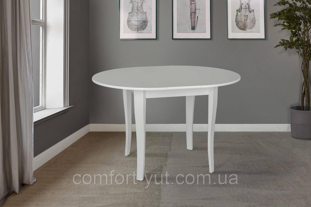 Стол Дукат белый 93(+25)*93 обеденный раскладной деревянный