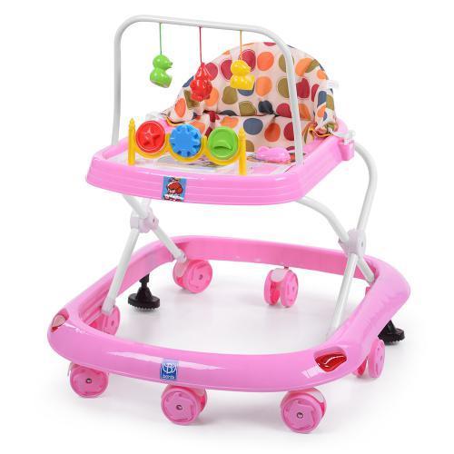 Детские ходунки M 0541C-6 музык. блок, свет, дуга с подвесками, стопоры, розовый