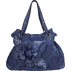 Сумка жіноча №8258-2 квітка джинс Синій