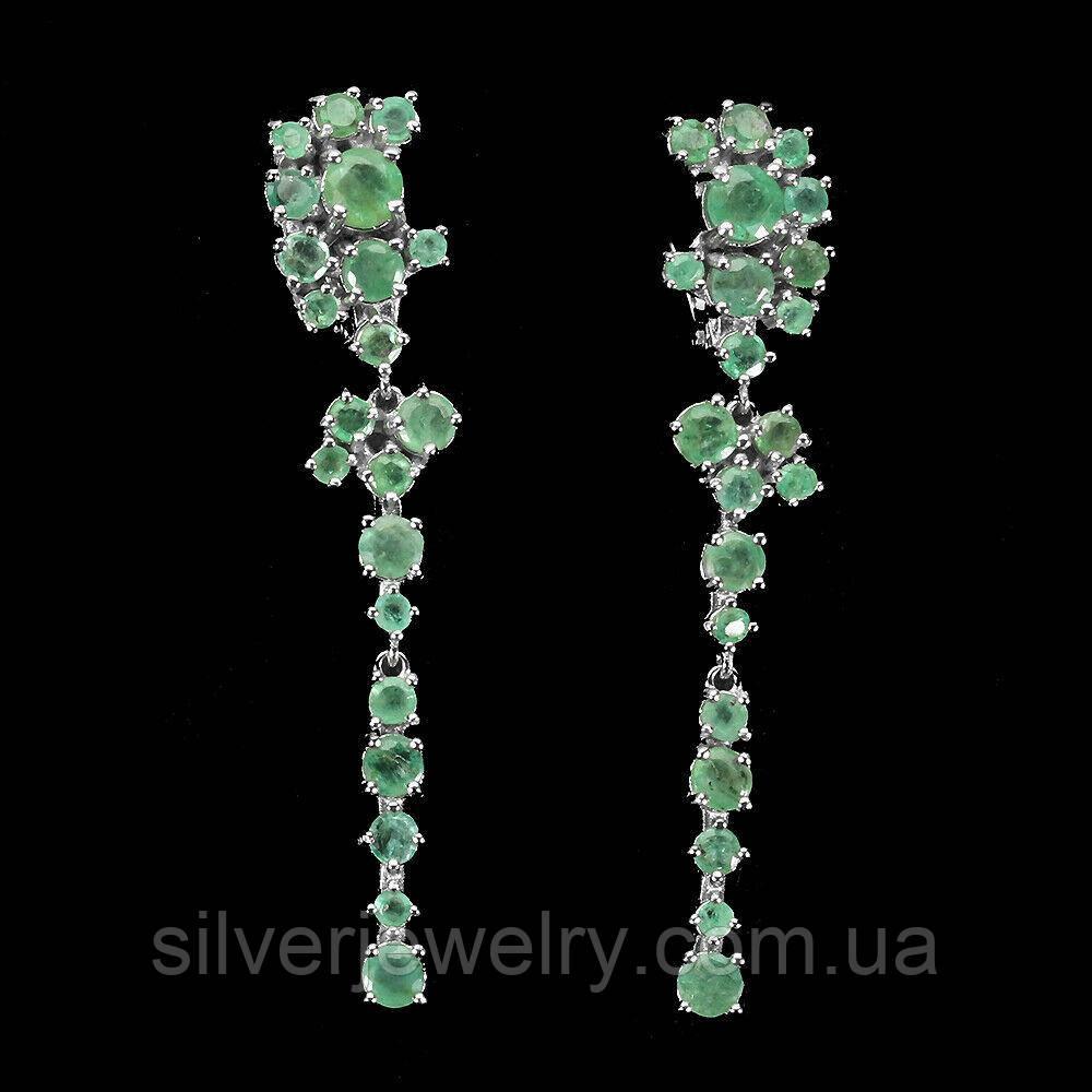 Серебряные серьги с ИЗУМРУДОМ (натуральный), серебро 925 пр.