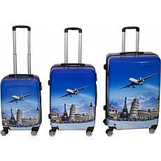 Комплект валіз № BL-316 з малюнком Синій