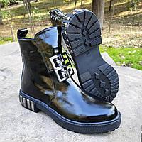 Лаковые женские ботинки демисезон еврозима черные EMANI Турция 37