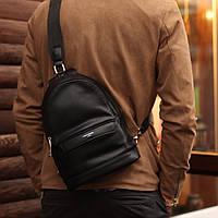 Сумка рюкзак через плечо David jones мужская слинг еко-кожа черная, фото 1