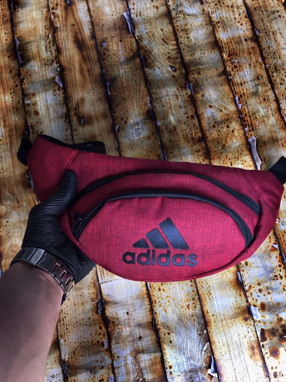 Поясная сумка Бананка Adidas  Логотип черный Мужская Женская