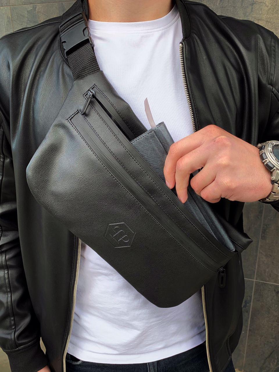 Бананка PP кожа (шкірозамінник) поясная сумка черная мужская женская
