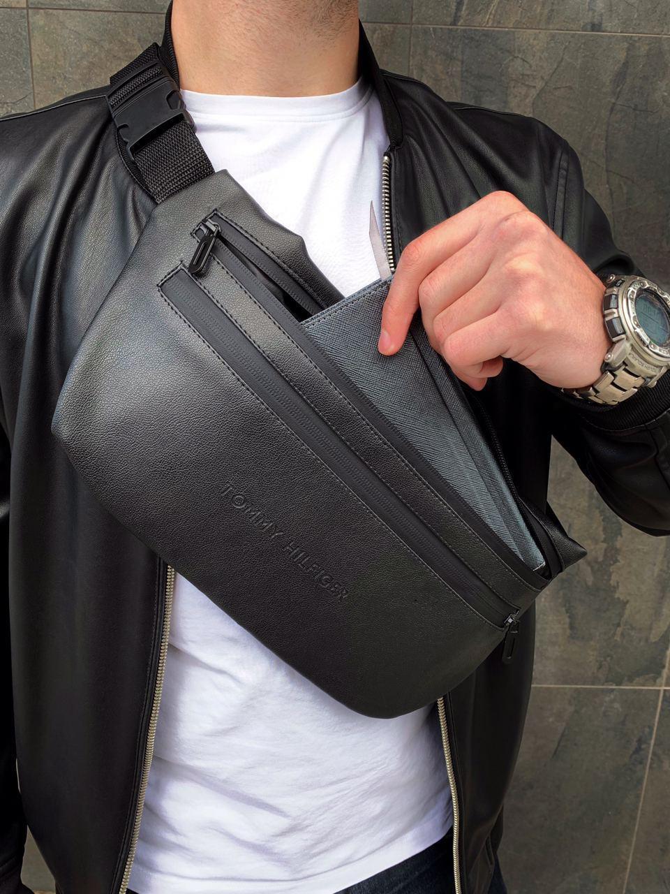 Бананка Tommy Hilfiger кожа (шкірозамінник) поясная сумка черная мужская женская