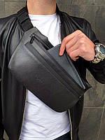 Бананка Tommy Hilfiger кожа (шкірозамінник) поясная сумка черная мужская женская, фото 1