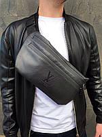 Бананка Louis Vuitton (LV) кожа (шкірозамінник) поясная сумка черная мужская женская, фото 1