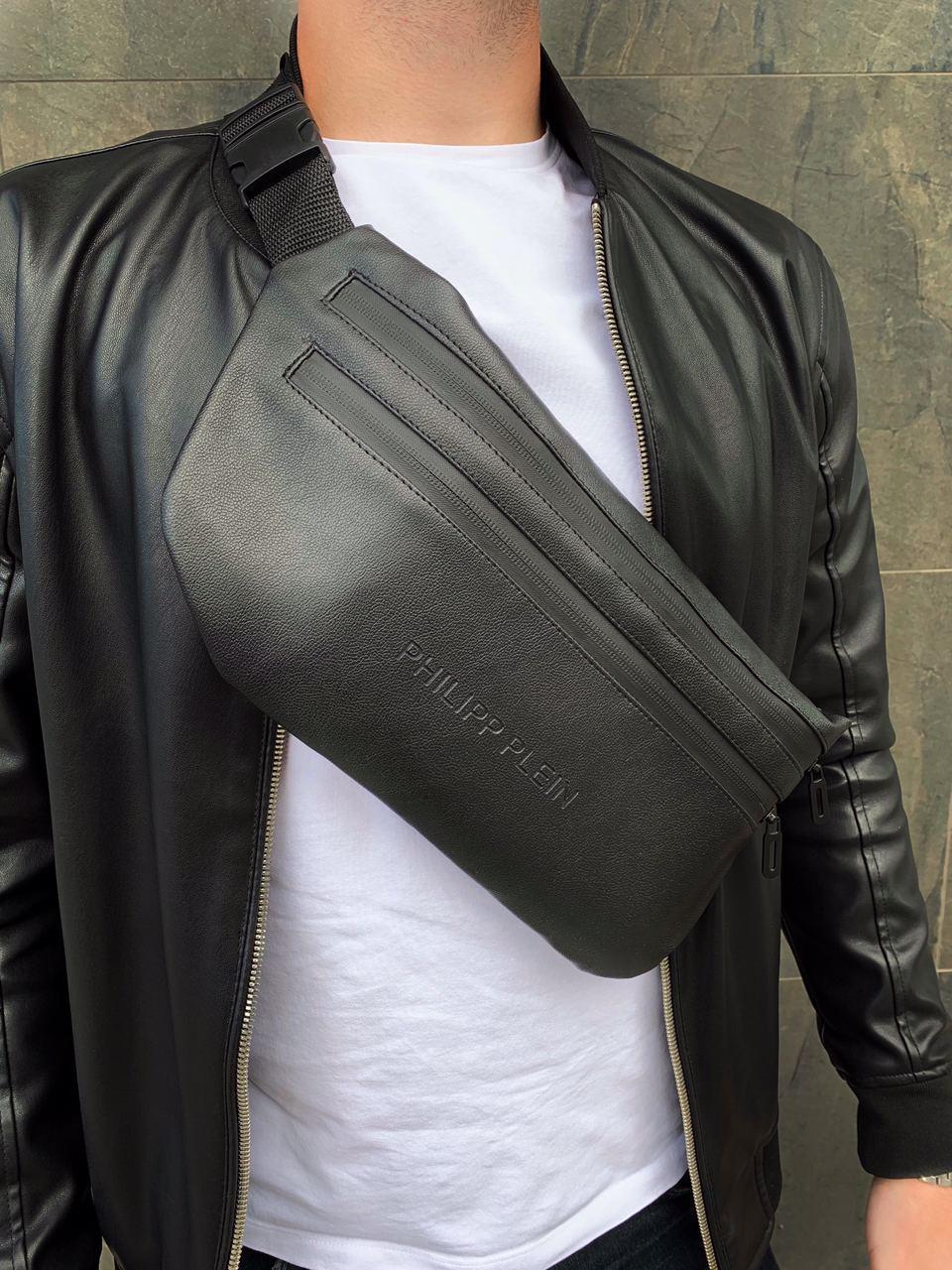 Бананка Philipp Plein кожа (шкірозамінник) поясная сумка черная мужская женская