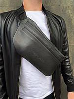 Бананка Philipp Plein кожа (шкірозамінник) поясная сумка черная мужская женская, фото 1