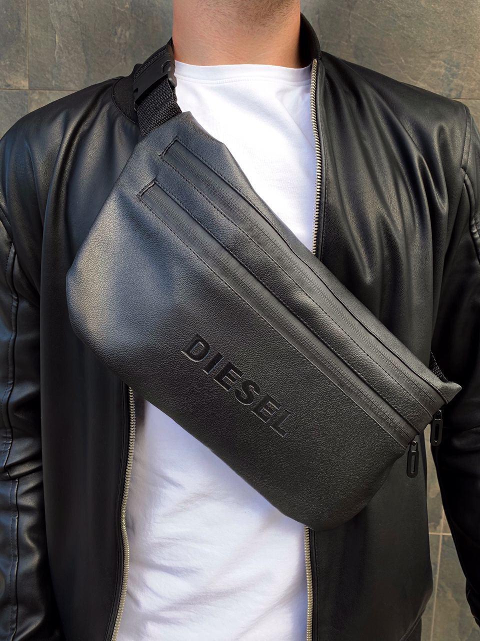 Бананка Diesel кожа (шкірозамінник) поясная сумка черная мужская женская