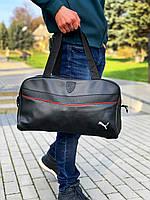 Сумка Puma (Пума) кожзам черная (унисекс) Мужская Женская Сумка через Плечо, фото 1